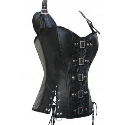 steampunk korsett i svart läder med spännen och ringar.