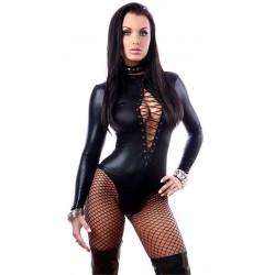 sexig svart lack pvc body med snörning