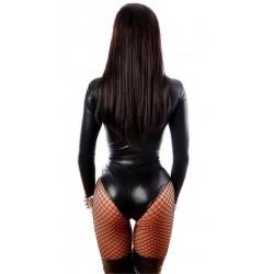 svart lack läder pvc body med snörning bakifrån rumpa med fishnet strumpbyxor