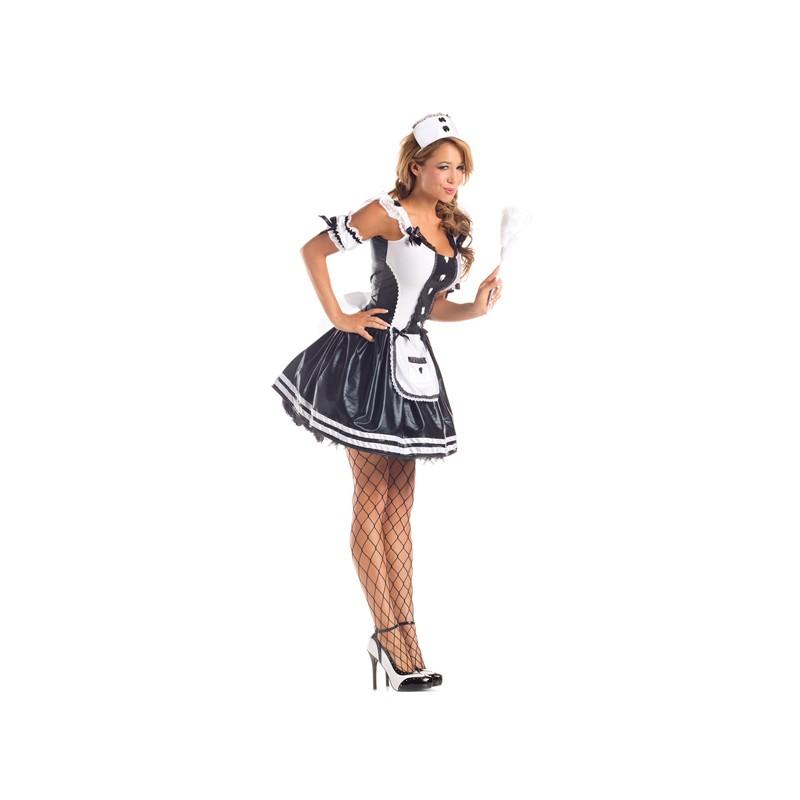 Snygg och sexig French maid kostym i lack, i maskeraddräkten ingår klänning, maid förkläde, en maid hatt och armpuffar
