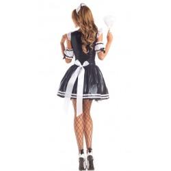 Klassisk French Maid kostym bakifrån med klänning och rosett.