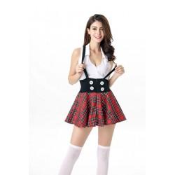 Snygg och sexig maskeradkostym sexig skolflicka med kjol, topp o hängslen.